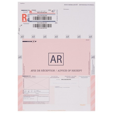 Recommande Imprime International A4 Avec Ar Avec Code Barre