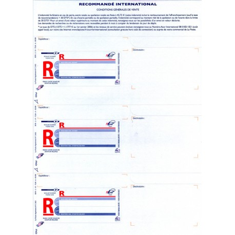 Imprimé recommandé A4 International bureautique, sans AR sans code à barre