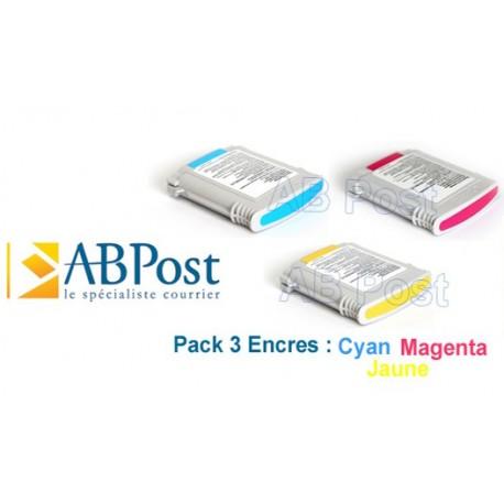 Cartouche compatible Connect+ pour Pitney Bowes, encre cyan jaune magenta